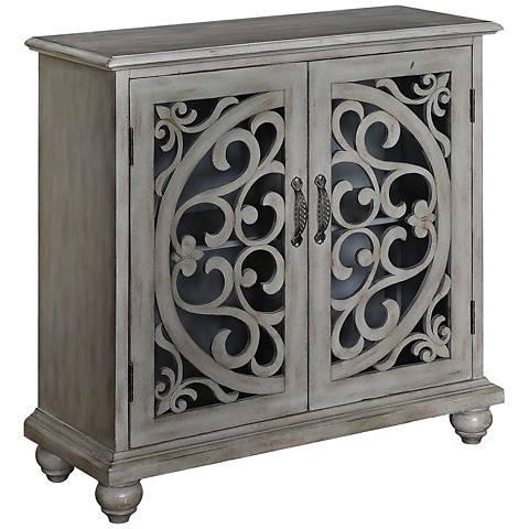 Elizabeth Cape Cod Gray Wood 2-Door Open Fretwork Cabinet