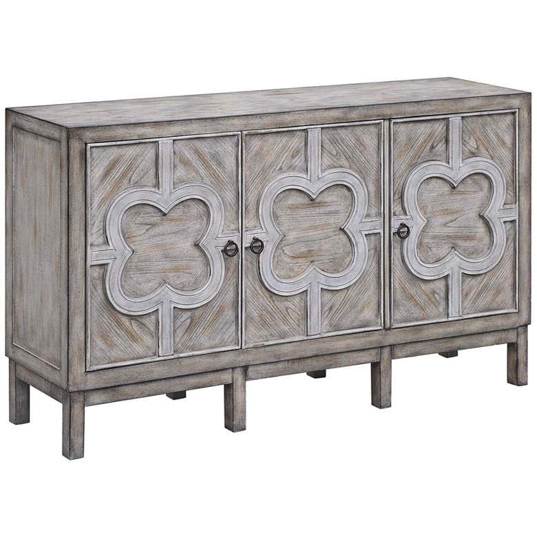 "Buckingham 60"" Wide Gray Wash Veneer 3-Door Sideboard"