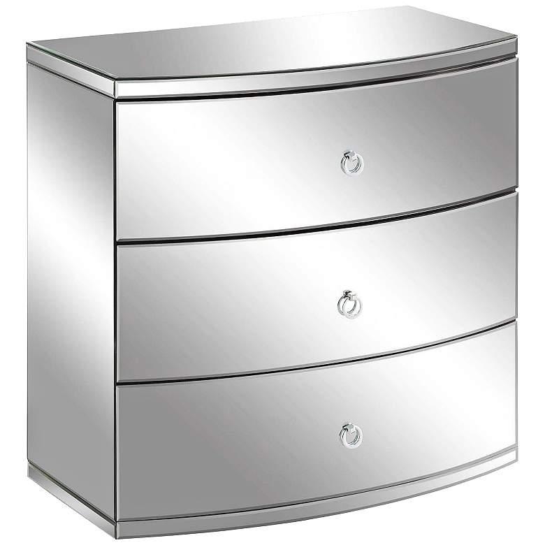 """Millenium 32"""" Wide 3-Drawer Clear Mirror Modern Chest"""