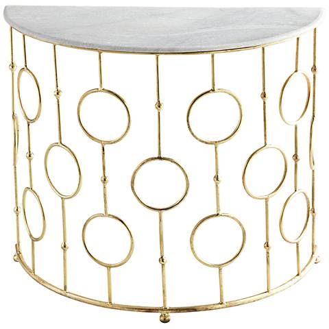 Perseus Marble Top and Brass Console Table