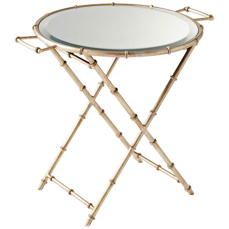 """Amelia 25"""" Wide Glass and Antique Silver Tray Table"""