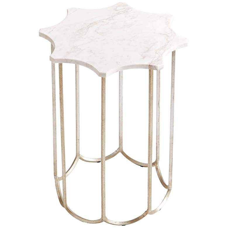 "Stardust 15 1/2"" Wide Marble Top Modern Side Table"