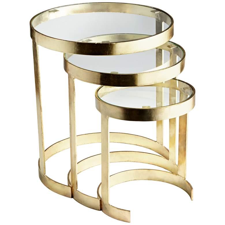 Terzina Glass Top Brass 3-Piece Round Nesting Table Set