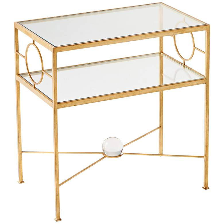 """Auric Orbit 23 3/4"""" Wide Gold Leaf Accent Table"""
