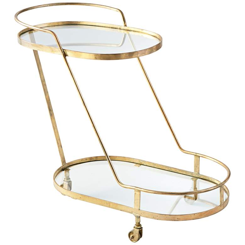 "Patin 36"" Wide Brass and Glass Wheeled Bar Cart"