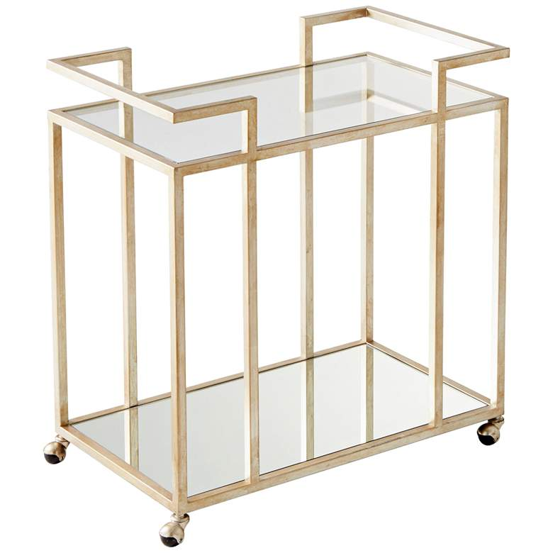 "Revival 31 1/2"" Wide Antique Silver and Glass Bar Cart"