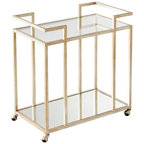 Revival Antique Silver And Gl Bar Cart