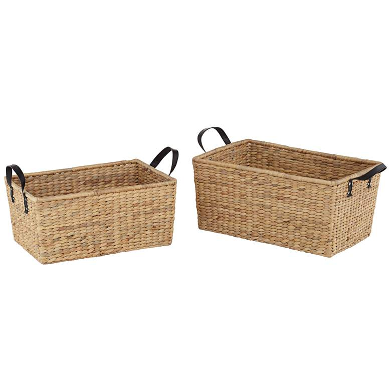 Hyacinth Open-Top 2-Piece Rectangular Basket Set