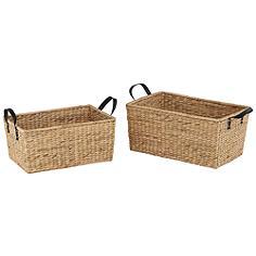 Hyacinth Open-Top 2-Piece Rectangular Basket Set