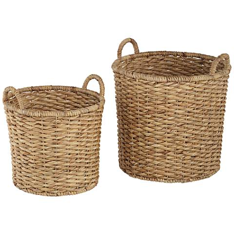 Hyacinth Open-Top 2-Piece Round Basket Set
