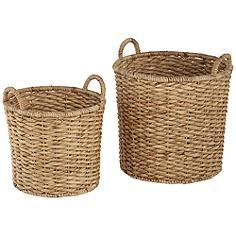 Hyacinth Open-Top 2-Piece Round Basket Set