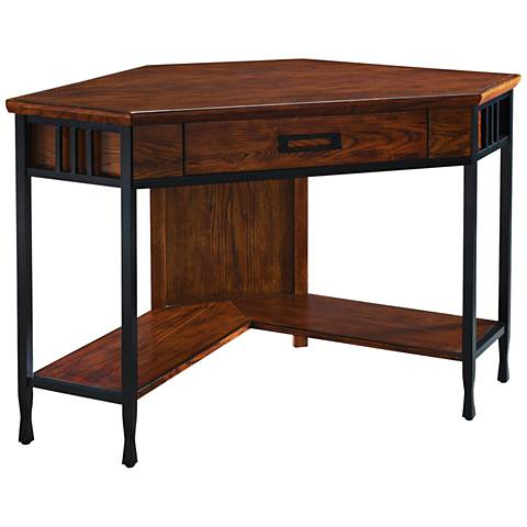 Leick Ironcraft Mission Oak Corner Computer/Writing Desk