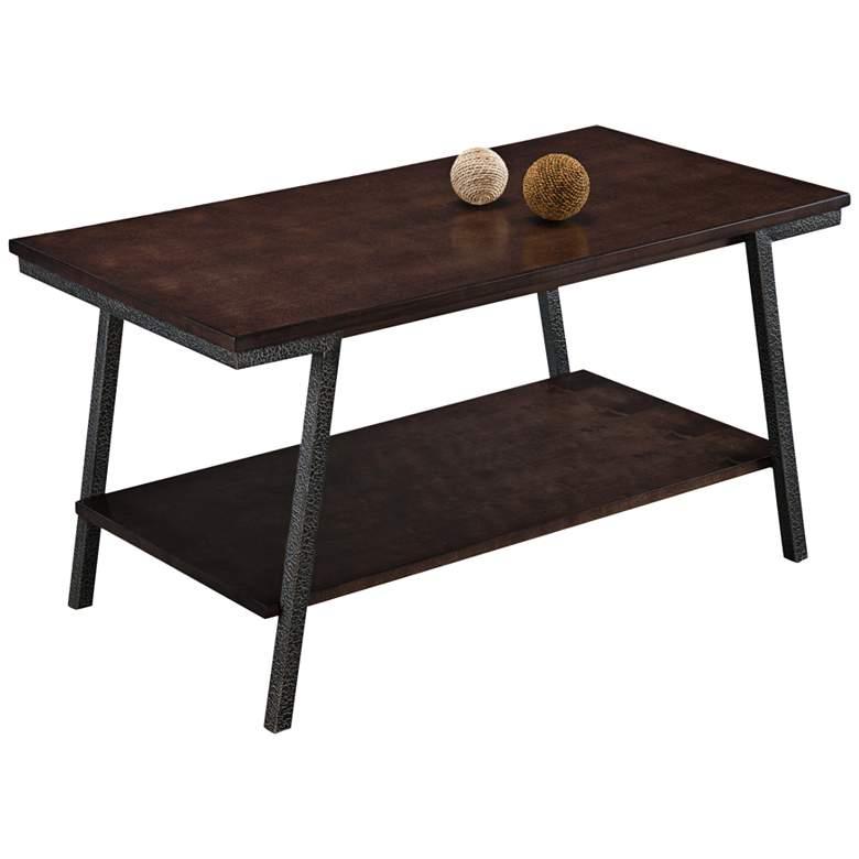 """Empiria 38"""" Wide Hand-Finished Walnut 1-Shelf Coffee Table"""