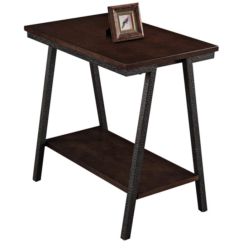 "Empiria 24"" Wide Hand-Finished Walnut Narrow Chairside Table"