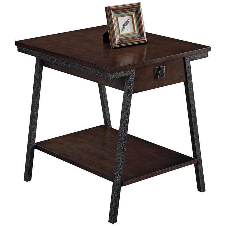 "Empiria 24"" Wide Hand-Finished Walnut 1-Drawer End Table"