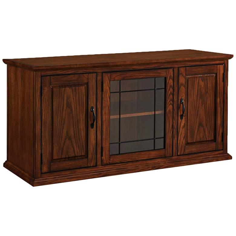 "Leick 50"" Wide Burnished Oak 3-Door Leaded Glass TV Cabinet"