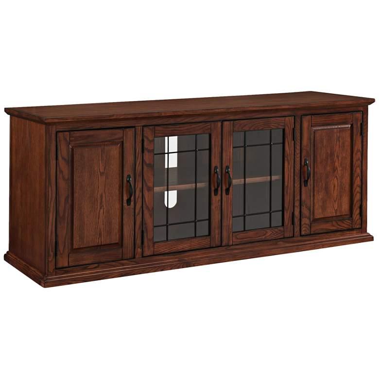 "Leick 60"" Wide Burnished Oak 4-Door TV Stand Cabinet"