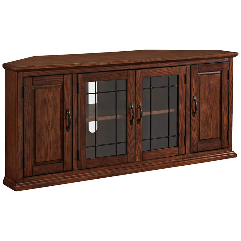 "Leick 56"" Wide Burnished Oak Leaded Glass Corner TV Cabinet"