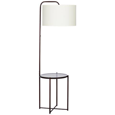 Clement Tempered Smoke Glass with Dark Bronze Floor Lamp