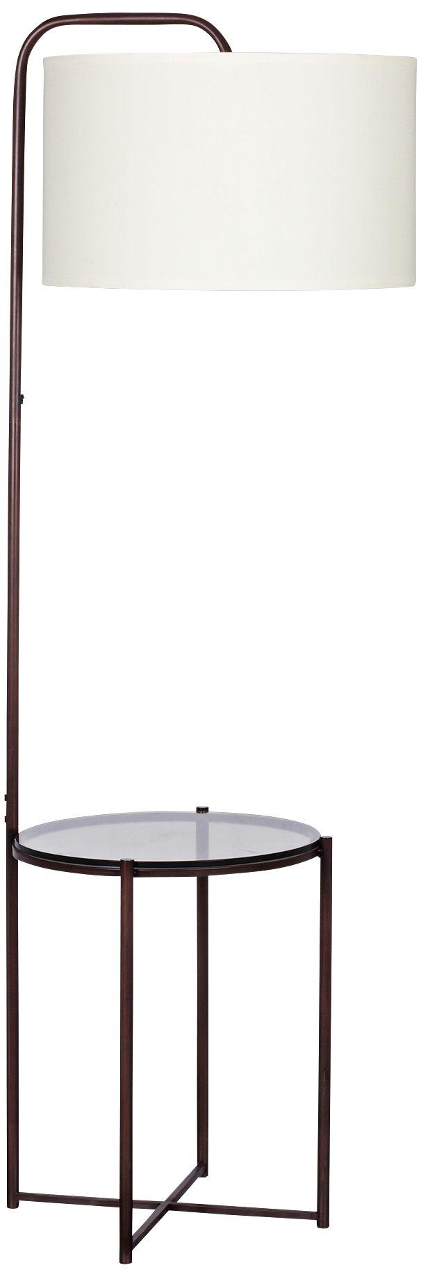 Clement Tempered Smoke Glass With Dark Bronze Floor Lamp
