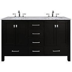 "Malibu 60"" Espresso Double Sink Bathroom Vanity"