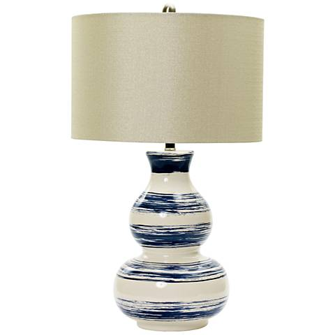 Corbett White with Navy Brushstrokes Ceramic Table Lamp