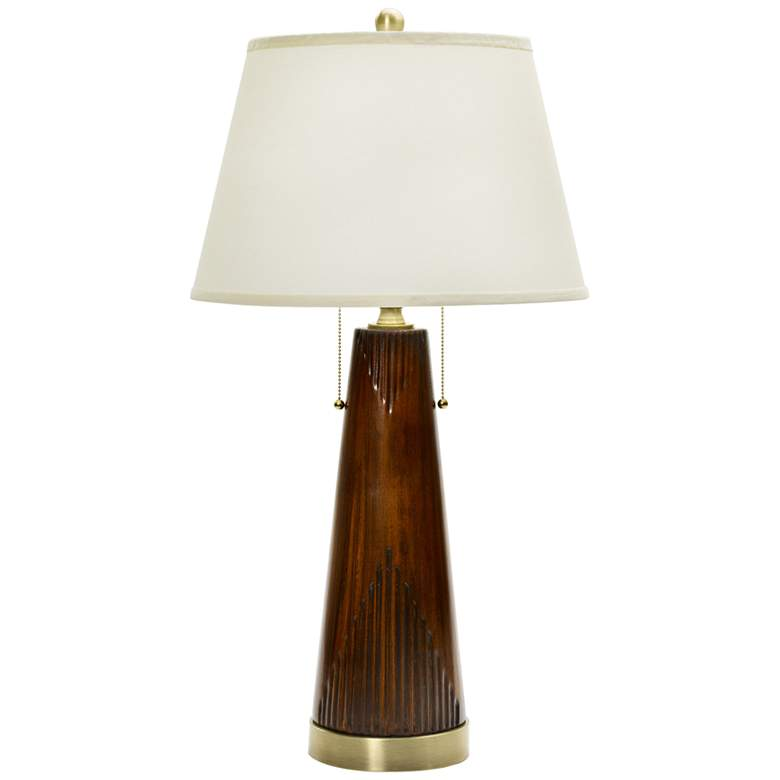 Turk Fruitwood Ceramic Table Lamp