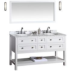 "Marla 60"" White Double Sink Bathroom Vanity with Mirror"