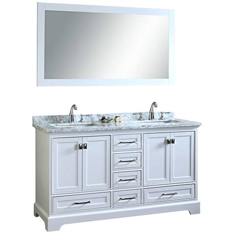 "Newport 60"" White Double Sink Bathroom Vanity with Mirror"