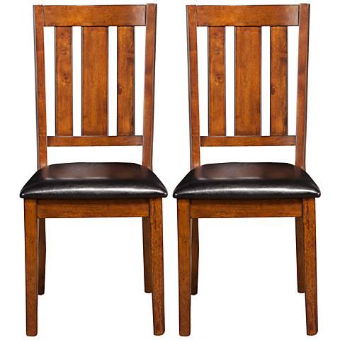 Pratt Cappucino Slat Back Dining Chair Set of 2