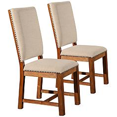 Shasta Salvaged Natural Fabric Dining Chair Set of 2
