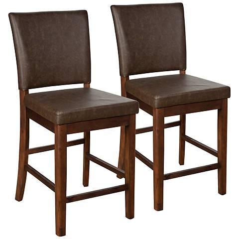 "Caldwell 26"" Brown Faux Leather Counter Stool Set of 2"
