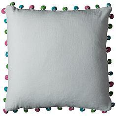 """Katy White Pompom 18"""" Square Throw Pillow"""