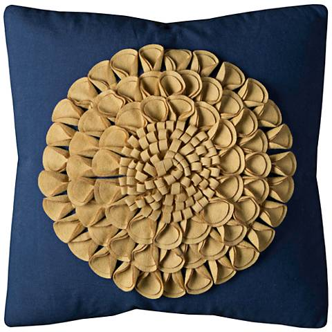"Bloom Brown Floral Motif 20"" Square Applique Throw Pillow"
