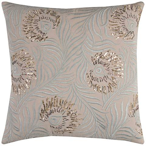 "Peacock Gray Feathers Embellished Beaded 20"" Square Pillow"