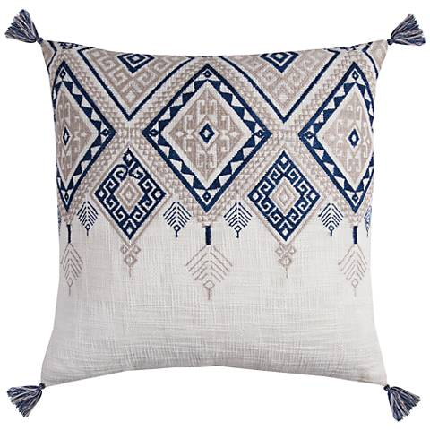 """Zella Tribal Aztek Ivory and Blue 20"""" Square Throw Pillow"""