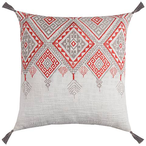 "Zella Tribal Aztek Ivory and Orange 20"" Square Throw Pillow"