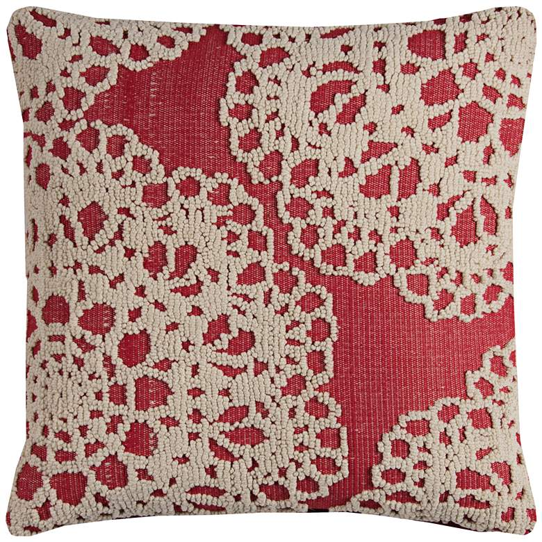 """Suzana White and Red Textural Medallion 20"""" Square Pillow"""