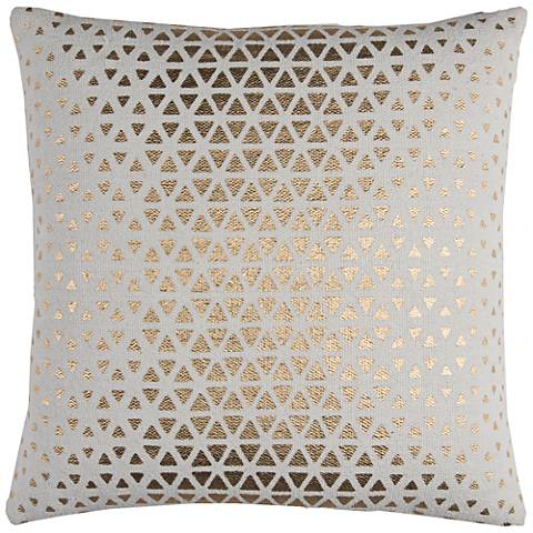 "Sasha White and Gold Foil Diamond 20"" Square Throw Pillow"