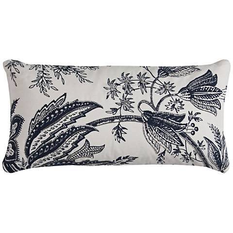 """Leah Blue and White Floral 21"""" x 11"""" Throw Pillow"""