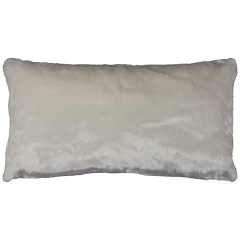 """Gracie White Faux Fur 26"""" x 14"""" Throw Pillow"""