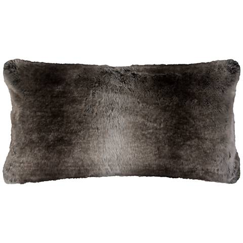 "Gracie Taupe Faux Fur 26"" x 14"" Throw Pillow"