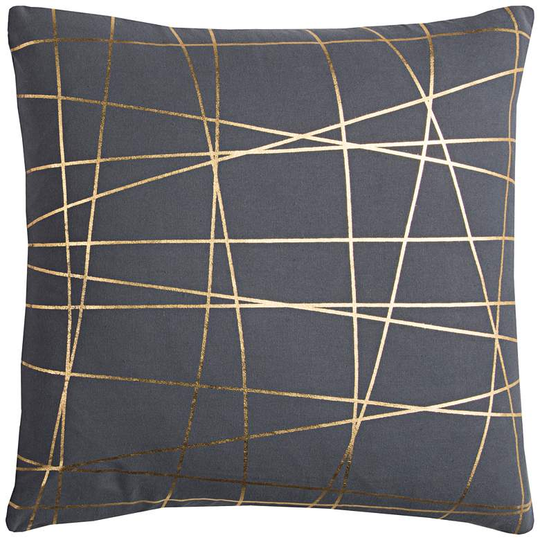 """Rachel Kate Abstract Gray and Gold 20"""" Square Throw Pillow"""
