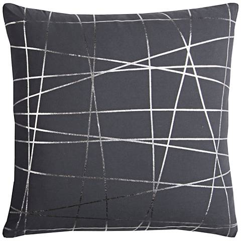 """Rachel Kate Abstract Gray and Silver 20""""W Throw Pillow"""