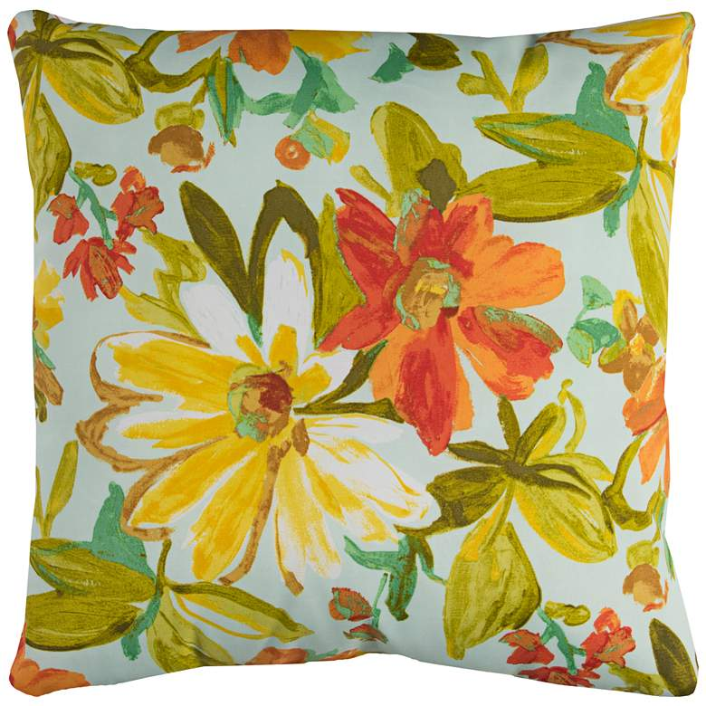 "Elberta Cream Floral 22"" Square Throw Indoor-Outdoor Pillow"