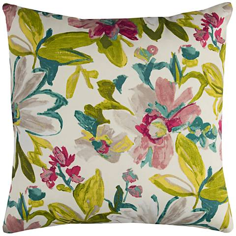 "Elberta White Floral 22"" Square Throw Indoor-Outdoor Pillow"
