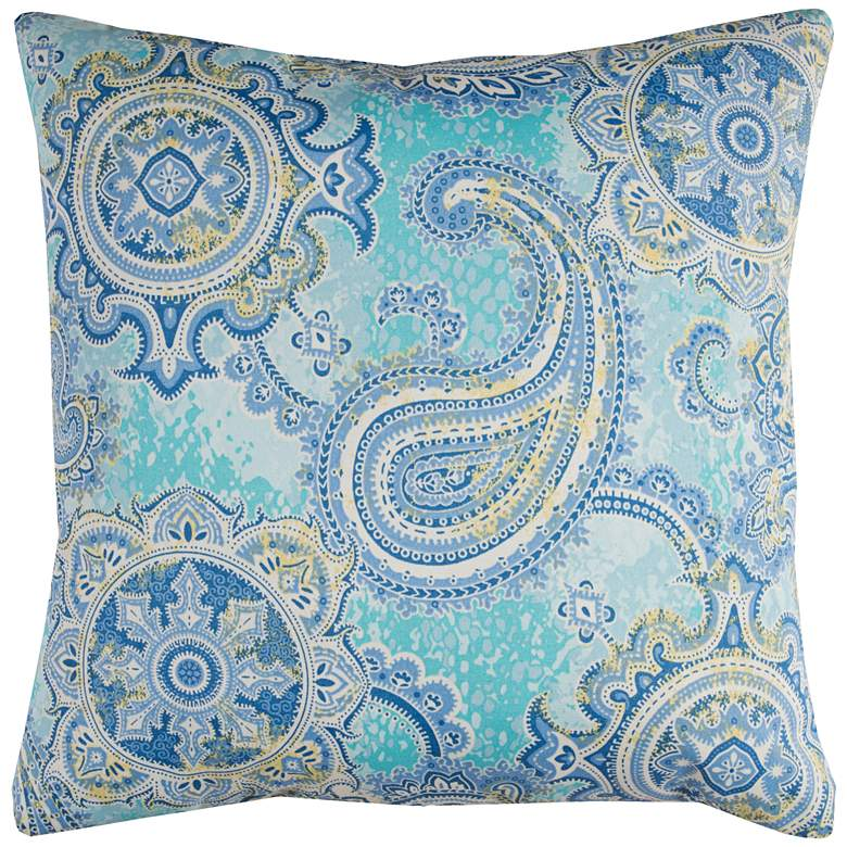 """Houssie Blue Paisley 22"""" Square Throw Indoor-Outdoor Pillow"""