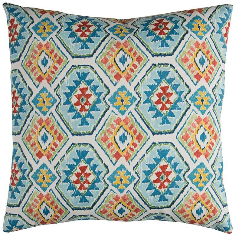 "Eresha Blue Diamond 22"" Square Throw Indoor-Outdoor Pillow"