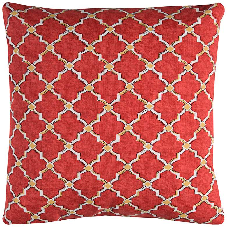 """Eaton Red Diamond 22"""" Square Throw Indoor-Outdoor Pillow"""