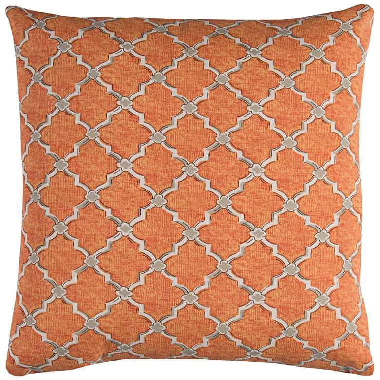 "Eaton Orange Diamond 22"" Square Throw Indoor-Outdoor Pillow"